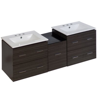 Kyra 62 Double Bathroom Vanity with 5 Drawers Base Finish: Dawn Gray, Faucet Mount: 8 Centers