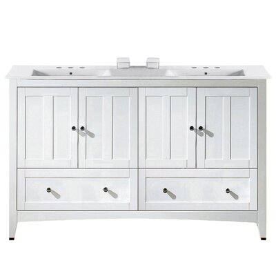 Artic Modern 59 Single Bathroom Vanity Set Base Finish: White, Faucet Mount: 8 Centers