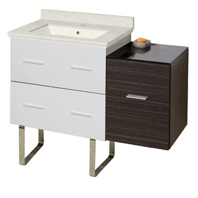 Kyra Modern 38 Rectangle Glazed Single Bathroom Vanity Set with 3 Drawers Sink Finish: Biscuit, Faucet Mount: Single Hole