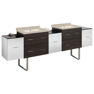 Kyra Modern 90 Rectangular Double Bathroom Vanity Set Sink Finish: Biscuit, Faucet Mount: Single Hole