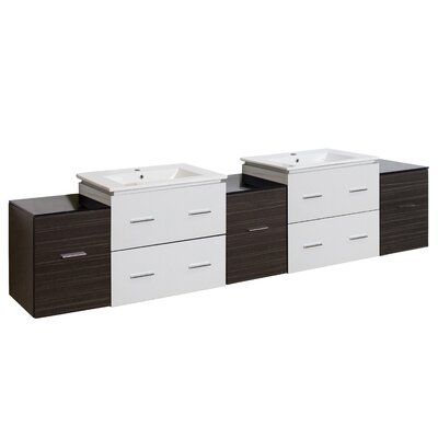 Kyra 89 Double Bathroom Vanity with 7 Drawer Base Finish: White/Dawn Gray, Faucet Mount: Single Hole