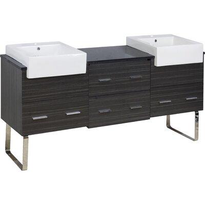 Xena Farmhouse Plywood-Melamine 69 Double Bathroom Vanity Base Base Finish: Dawn Gray