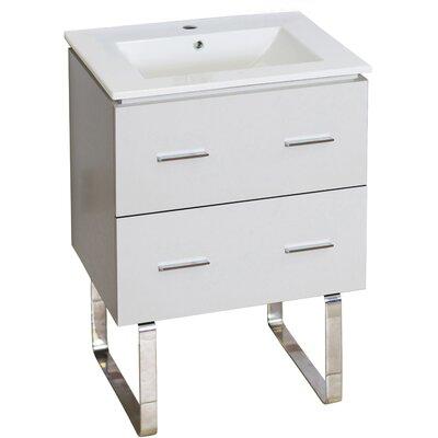 Kyra Modern 24 Single Bathroom Vanity Faucet Mount: Single Hole