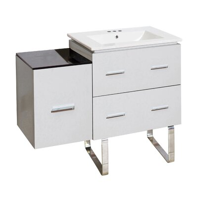 Kyra Modern 38 Rectangle Single Bathroom Vanity Base Finish: White, Faucet Mount: 4 Centers
