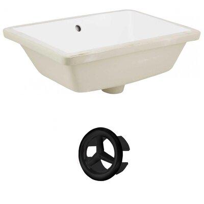 Ceramic Rectangular Undermount Bathroom Sink with Overflow Drain Finish: Black
