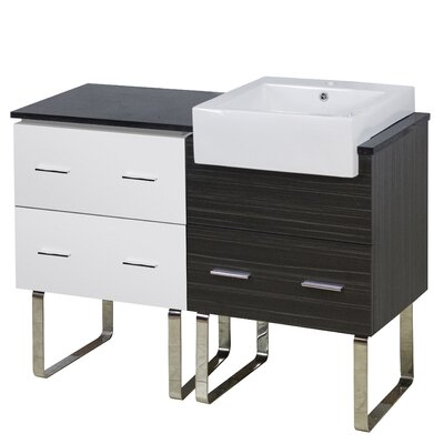 Xena Farmhouse Plywood-Melamine 46 Single Bathroom Vanity Base Base Finish: White/Dawn Gray