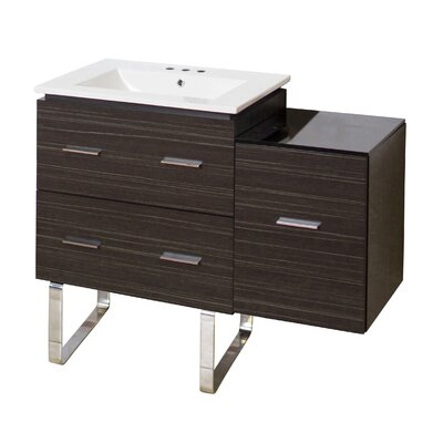 Kyra Modern 38 Single Bathroom Vanity Base Finish: Dawn Gray, Faucet Mount: 8 Centers