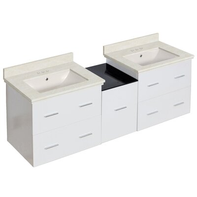 Kyra 62 Rectangle Double Bathroom Vanity Set with Marble and Glass Top Base Finish: White, Sink Finish: Biscuit, Faucet Mount: 4 Centers