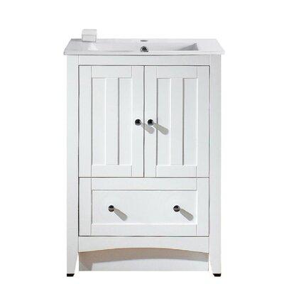 Artic 24 Plywood-veneer Single Bathroom Vanity Set Base Finish: White, Faucet Mount: Single Hole
