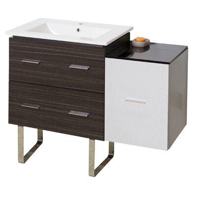 Kyra 38 Rectangle Single Bathroom Vanity Faucet Mount: Single Hole