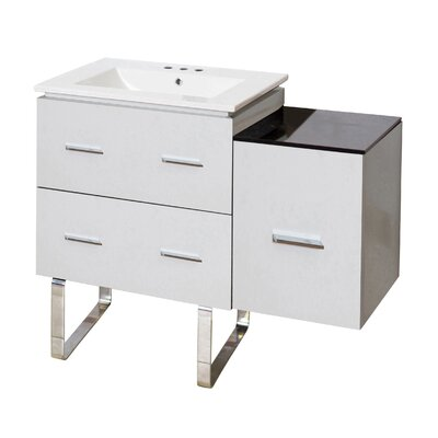 Kyra Modern 38 Single Bathroom Vanity Base Finish: White, Faucet Mount: 8 Centers