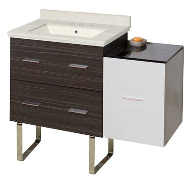 Kyra Modern 38 Single Bathroom Vanity Set with 3 Drawers Sink Finish: Biscuit, Faucet Mount: 8 Centers