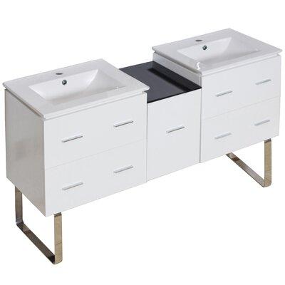 Kyra 62 Rectangle Double Bathroom Vanity Faucet Mount: Single Hole