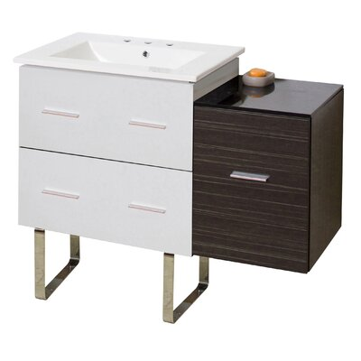 Kyra 38 Rectangle Single Bathroom Vanity with 3 Drawers Faucet Mount: 8 Centers