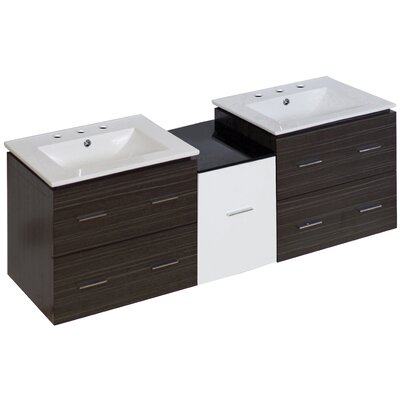Kyra 62 Rectangle Double Bathroom Vanity with 5 Drawers Faucet Mount: 8 Centers