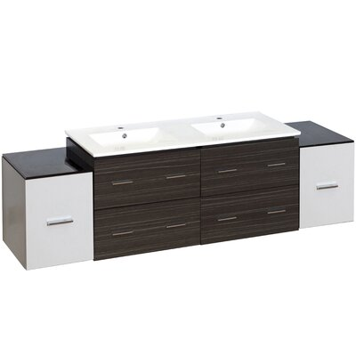 Kyra 76 6 Drawer Double Bathroom Vanity Faucet Mount: Single Hole