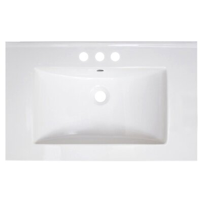 Vee Ceramic 30 Single Bathroom Vanity Top Faucet Mount: 4 Centers