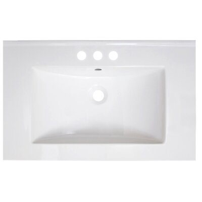 Vee Ceramic 30 Single Bathroom Vanity Top Faucet Mount: 4 Centers