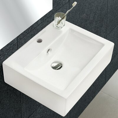Ceramic Rectangular Vessel Bathroom Sink with Overflow Faucet Mount: Single Hole