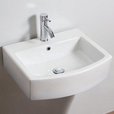 Ceramic Rectangular Vessel Bathroom Sink with Overflow Faucet Mount: Single Hole