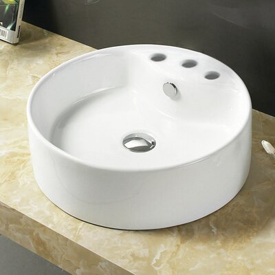 Ceramic Circular Vessel Bathroom Sink with Overflow Faucet Mount: 8 Centers
