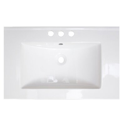 Vee Ceramic 21 Single Bathroom Vanity Top Faucet Mount: 8 Centers