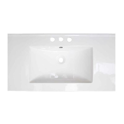 Flair Ceramic 32 Single Bathroom Vanity Top Faucet Mount: 4 Centers