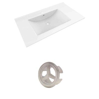 Drake Ceramic 36 Single Bathroom Vanity Top Top Finish: White, Faucet Mount: Single Hole