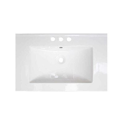 Flair Ceramic 24 Single Bathroom Vanity Top Faucet Mount: 4 Centers