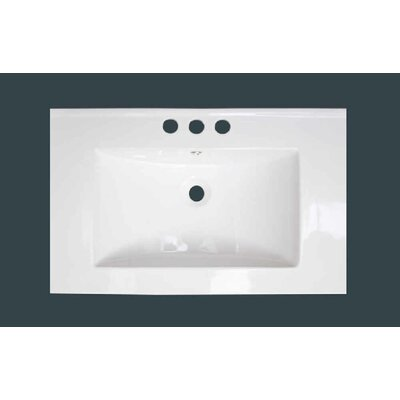 Ceramic 25 Single Bathroom Vanity Top Faucet Mount: 8 Centers, Overflow Cap Color: White