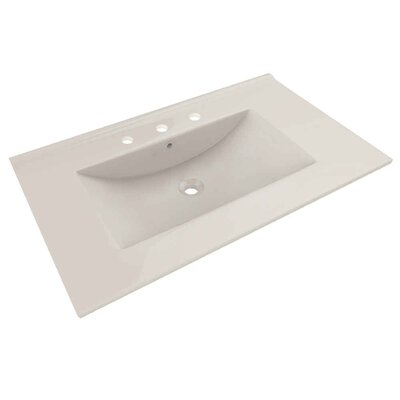Drake Ceramic 36 Single Bathroom Vanity Top Top Finish: Biscuit, Faucet Mount: 8 Centers