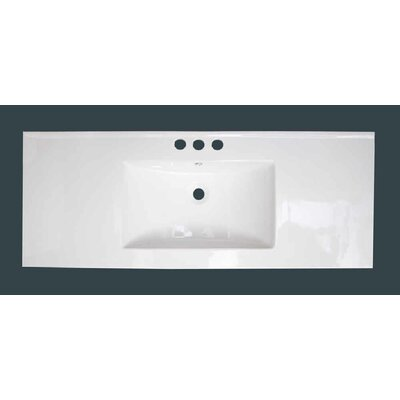 Alum Ceramic 48 Single Bathroom Vanity Top Faucet Mount: 8 Centers, Overflow Cap Color: Black