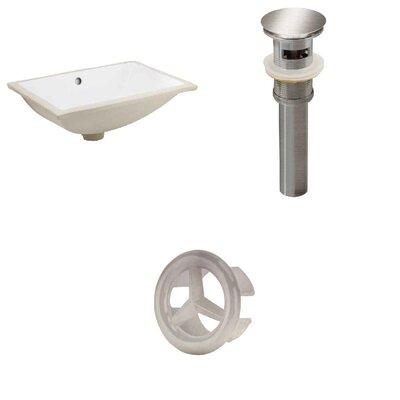 Ceramic Rectangular Undermount Bathroom Sink with Overflow Drain Finish: Brushed Nickel