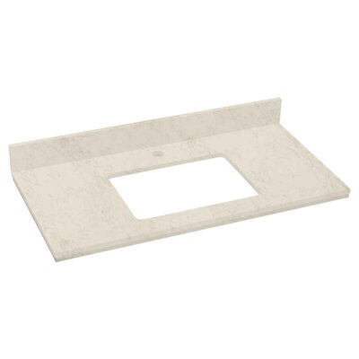 Elite Marble 36 Single Bathroom Vanity Top Top Finish: Beige, Faucet Mount: Single Hole