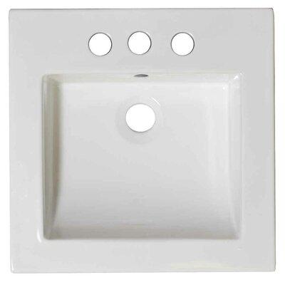 Nikki Ceramic 21.5 Single Bathroom Vanity Top Faucet Mount: 4 Centers