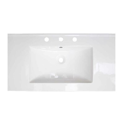 Flair Ceramic 36.75 Single Bathroom Vanity Top Faucet Mount: 8 Centers