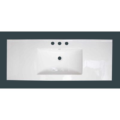 Ceramic 40 Single Bathroom Vanity Top Faucet Mount: 4 Centers, Overflow Cap Color: White