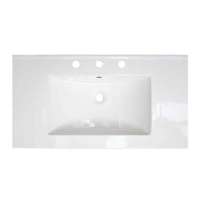Flair Ceramic 36.75 Single Bathroom Vanity Top Faucet Mount: 4 Centers