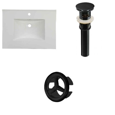 31 Single Bathroom Vanity Top Faucet Mount: Single, Overflow Cap Color: Black