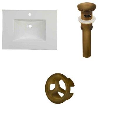 31 Single Bathroom Vanity Top Faucet Mount: Single, Overflow Cap Color: Antique Brass