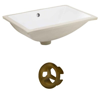 Rectangular Undermount Bathroom Sink with Overflow Drain Finish: Antique Brass