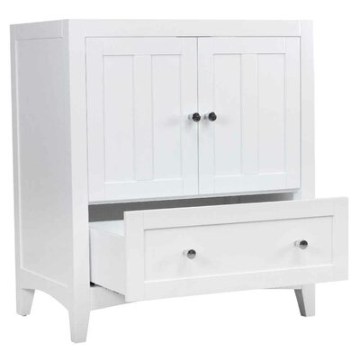 Riordan 31 Single Bathroom Vanity Set Base Finish: White, Sink Finish: Biscuit, Faucet Mount: 4 Centers