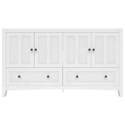 Riordan 59 Double Bathroom Vanity Set Sink Finish: White, Faucet Mount: 8 Centers