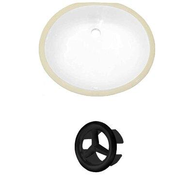 CUPC Ceramic Oval Undermount Bathroom Sink with Overflow Overflow Cap Color: Black
