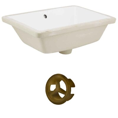 Ceramic Rectangular Undermount Bathroom Sink with Overflow Drain Finish: Antique Brass, Sink Finish: White