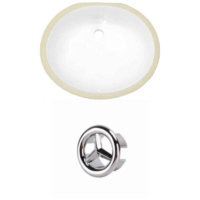 CUPC Ceramic Oval Undermount Bathroom Sink with Overflow Overflow Cap Color: Chrome