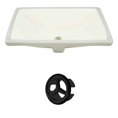 Ceramic Rectangular Undermount Bathroom Sink with Overflow Drain Finish: Black