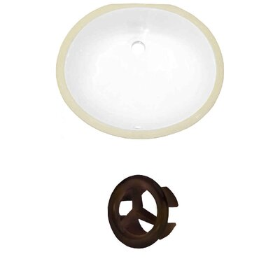 CUPC Ceramic Oval Undermount Bathroom Sink with Overflow Overflow Cap Color: Oil Rubbed Bronze