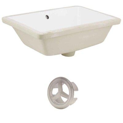 Ceramic Rectangular Undermount Bathroom Sink with Overflow Drain Finish: Brushed Nickel, Sink Finish: White
