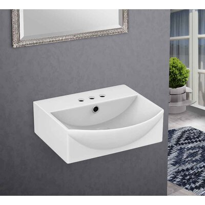 Ceramic 15.75 Bathroom Sink with Overflow Installation Type: Wall Mount Sinks